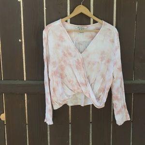 American Rag dusty pink tie dye bell sleeve top